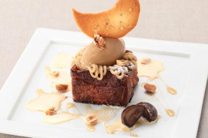 和栗のフレンチトーストとエスプレッソアイス